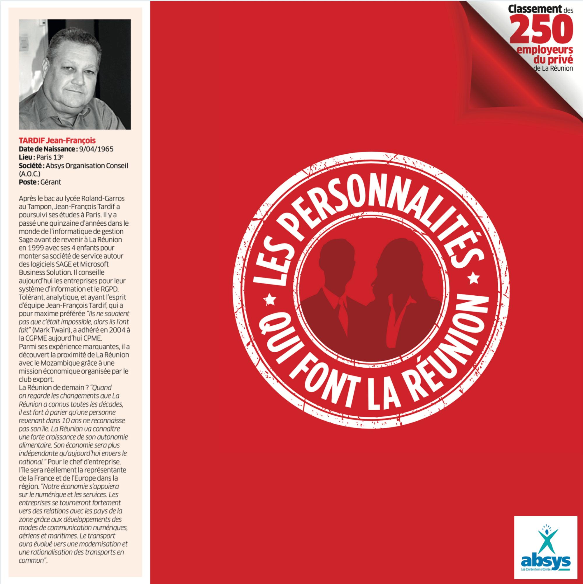 Mr Tardif dans le classement des 250 employeurs du privé de La Réunion - Le Memento